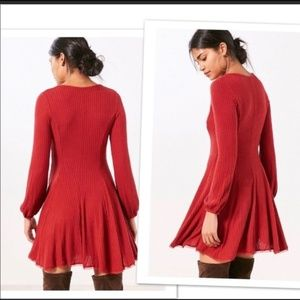 Ecote Topanga Cozy Robbed Long -Sleeve Red Dress